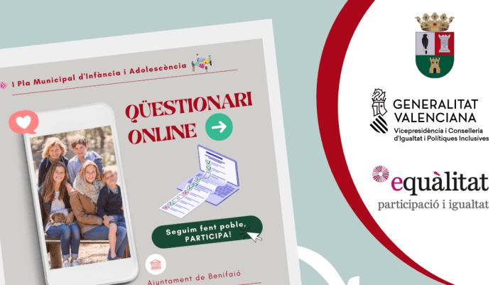 L'Ajuntament de Benifaió avança en l'elaboració del seu I Pla de la Infància i l'Adolescència amb l'elaboració i divulgació d'un qüestionari