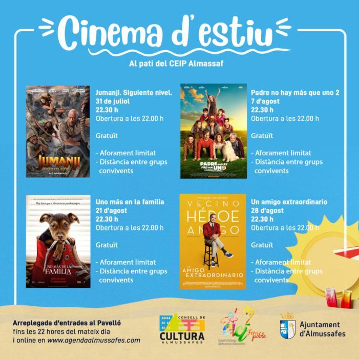 El cinema d'estiu torna a Almussafes amb quatre pel·lícules per al públic familiar