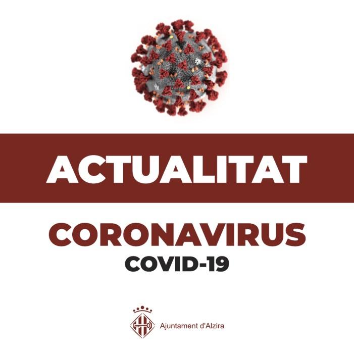 Actualització dades COVID. 300 casos cada 100.000 habitants d'incidència acumulada, Alzira