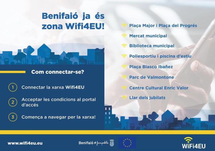L'Ajuntament de Benifaió posa en marxa el servei gratuït d'accés a internet en diversos punts de la població