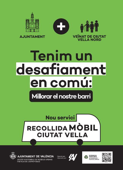 L'Ajuntament de València reforça la campanya d'informació per aplicar la recollida de residus amb plataforma mòbil en Ciutat Vella Nord