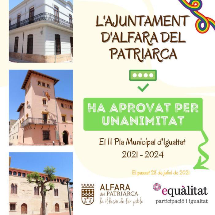 L'ajuntament d'Alfara del Patriarca posa en marxa el seu segon Pla Municipal d'Igualtat