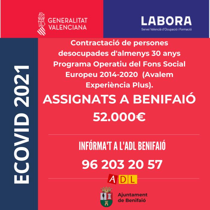 Benifaió rep una subvenció de més de 130.000 euros per a la contractació de persones desocupades