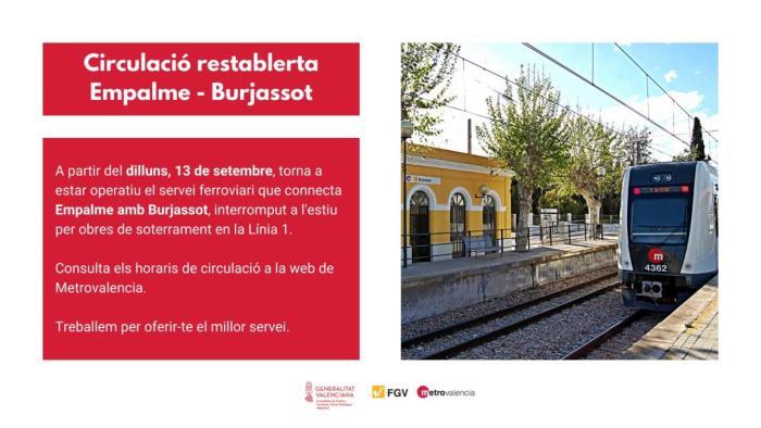 Restablida la connexió ferroviària entre les estacions de l'Entroncament i Burjassot