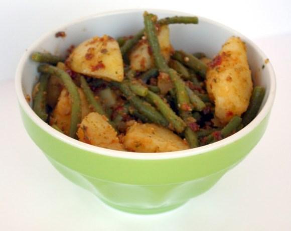 Fagiolini e patate ai pomodori secchi