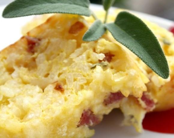 Cake di riso con provolone piccante e salame