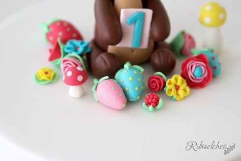 Mini fondant flowers, strawberries and mushrooms - Mini Fondant Blumen, Erdbeeren und Pilze