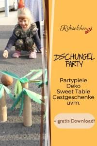 Ideen für deine Dschungelparty: Partyspiele, Deko, Sweet Table, Gastgeschenke + gratis Party-Planer als Download! #ribiselchen #dschungelparty #kindergeburtstag #kinderparty