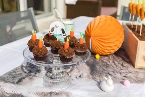 Schoko Cupcakes mit Fondantkarotten