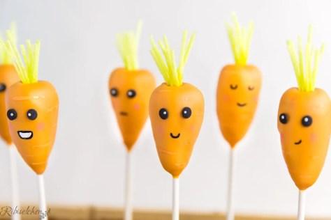 Karotten Cake Pops mit Gesichtern