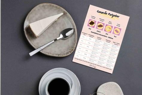ein Teller mit einem Tortenstück, eine Tasse Kaffee und daneben liegt der Ganache Ratgeber
