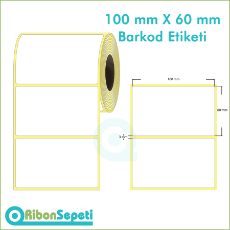 100x60 mm Boş (Beyaz) Etiket