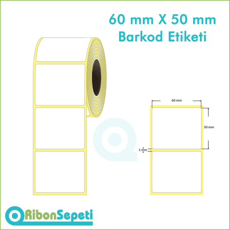 60x50 mm Boş (Beyaz) Etiket