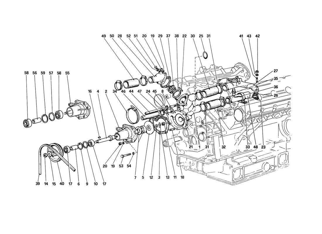Ferrari 308gtb Gts Water Pump And Piping