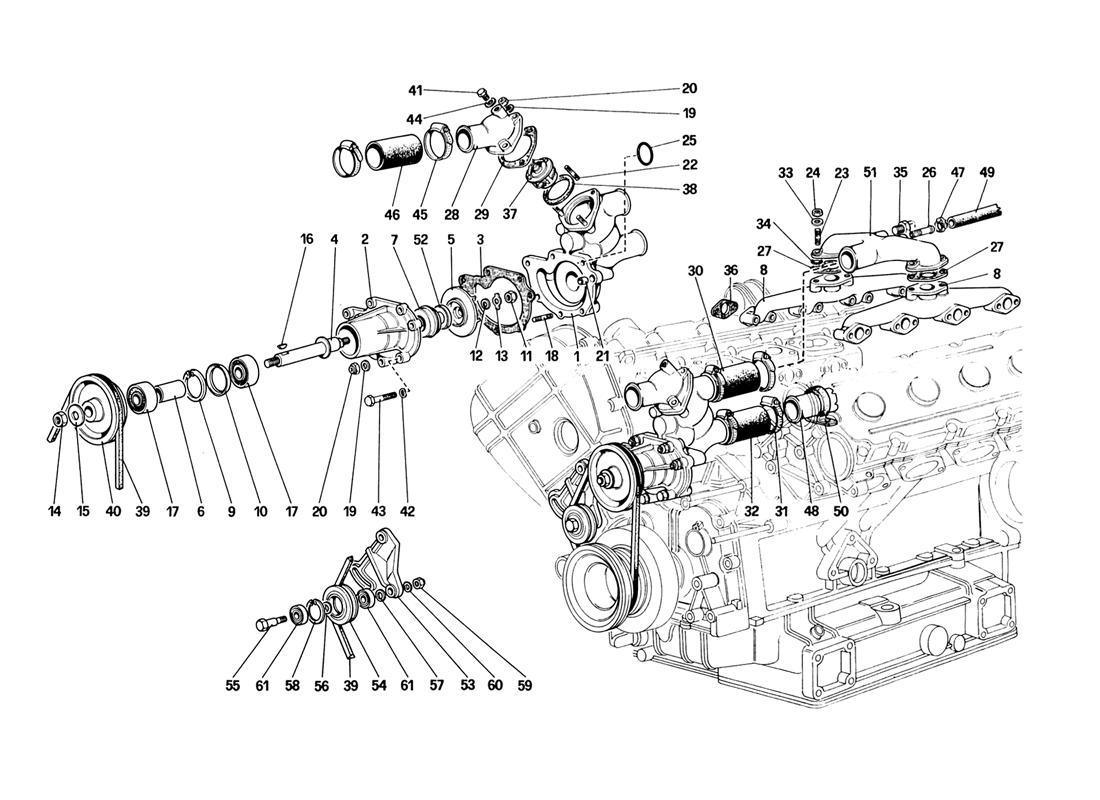 Ferrari 328 Water Pump And Piping