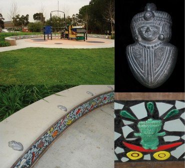 "East Los Angeles Civic Center Playground North, cast aluminum ornamental angles, 2005, Handcrafted low relief glazed and broken tile, colored cement and grout 16"" x 16"" x 144"""