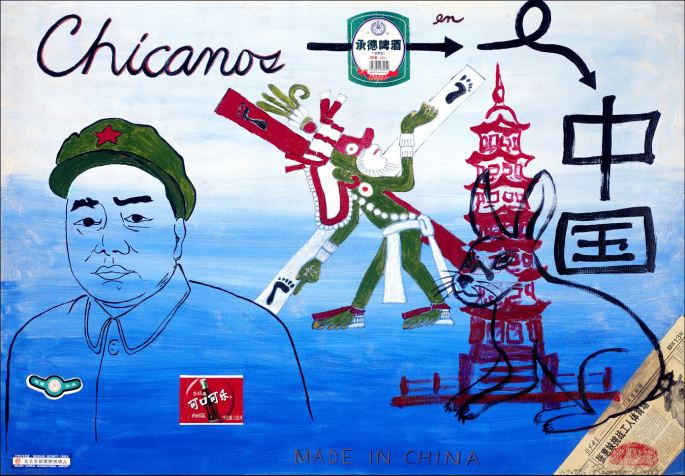 "Chicanos in China, 1999, Acrylic, collage on canvas, 27"" X 38.5"""