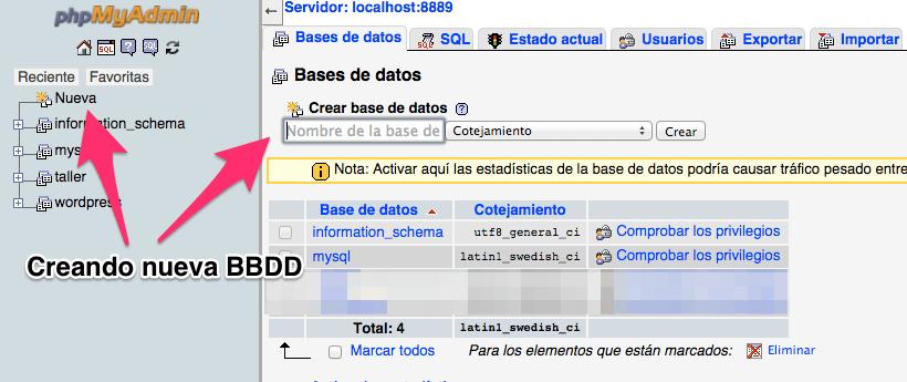 Creando Bases de datos en PHPMyAdmin