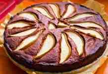 Crostata con crema al cioccolato e pere senza burro e senza uova