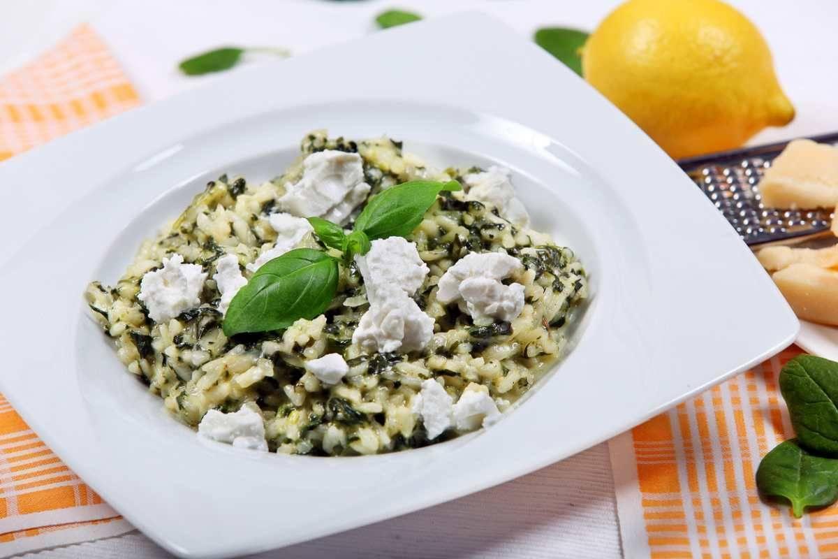 Risotto con spinaci e ricotta