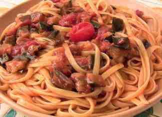 Linguine con crema di peperoni e melanzane - ricettasprint