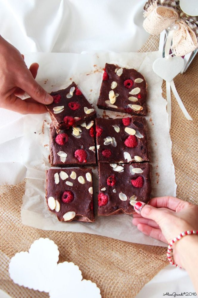 Brownies cioccolato lamponi chocolate raspberry vegan brownie