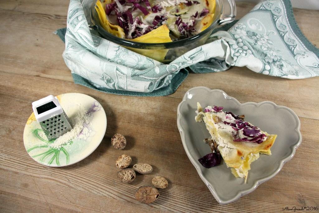 Lasagne vegetariane radicchio funghi Easy mushroom radicchio vegetarian lasagna