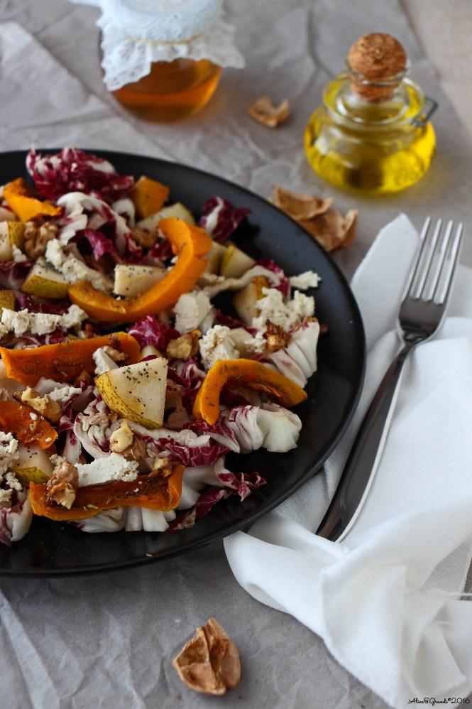 zucca-al-forno-pere-tofu-noci-fall-vegan-salad