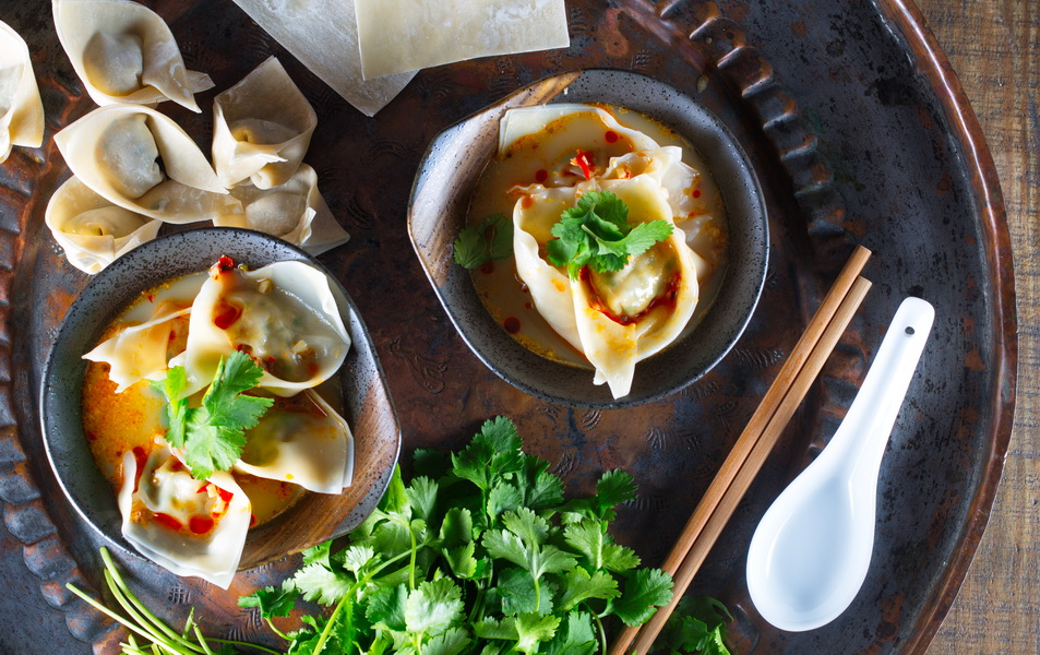 spicy chicken and cilantro wonton soup