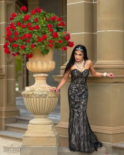 Nina Parinas modelling a Lilian Bermudez Design at Werribee Mansion