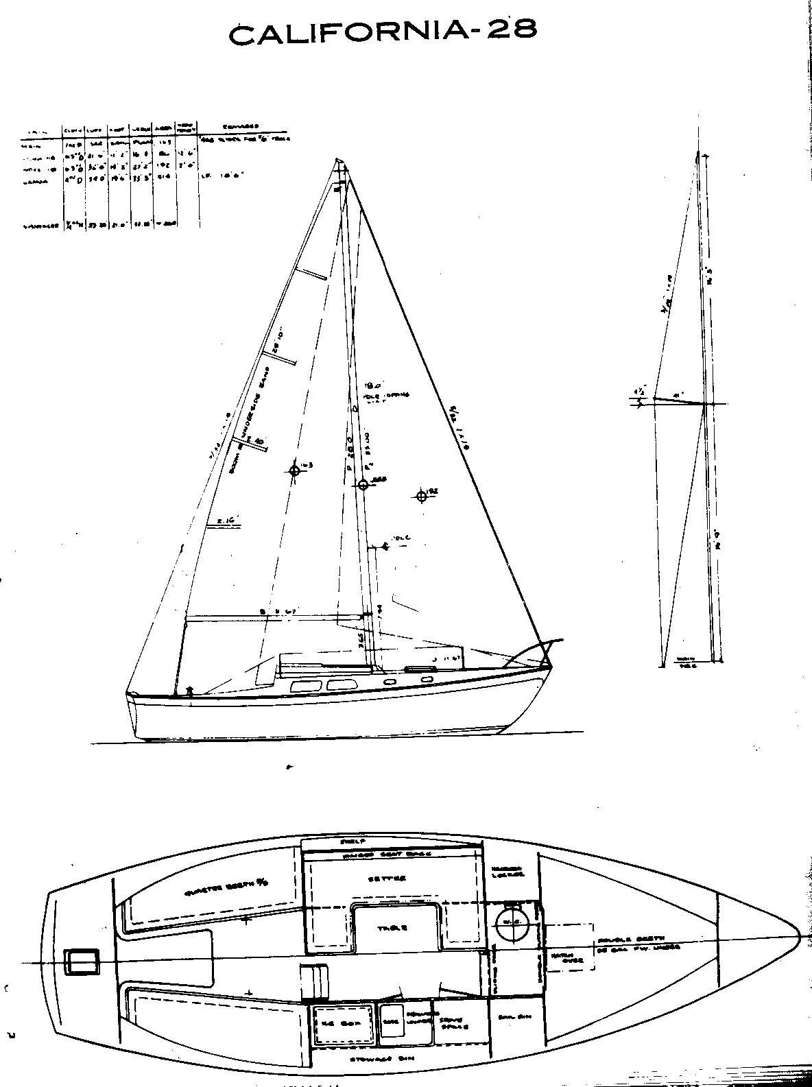 Cal 28 Line Drawing