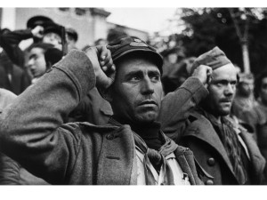 Capa's famous photo taken at the October 1938 farewell to the International Brigades in Barcelona