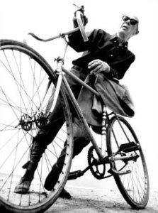 Henry Miller rides bikes