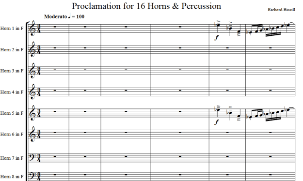 Proclamation, for 16 Horns and Percussion