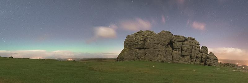 Final 3 shot panorama of Haytor Rock with the horizonal aurora