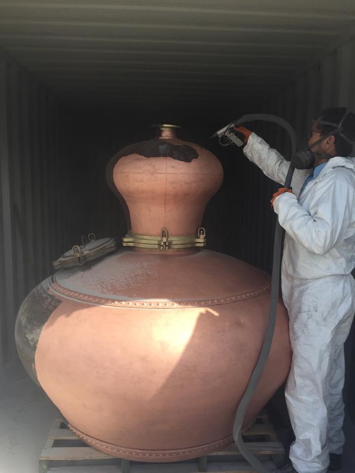 Dartmoor Distillery Sherry Still being cleaned