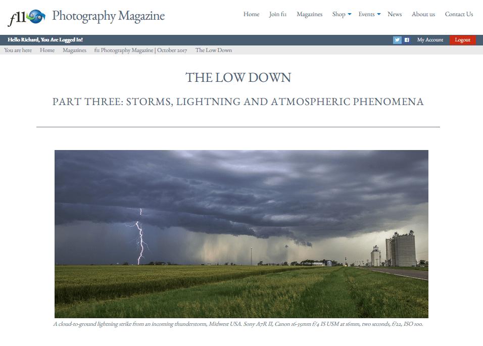 Article: David Noton's f11 Magazine October 2017 – Part Three: Storms, Lightning and Atmospheric Phenomena