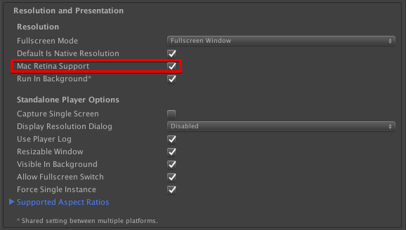 Enabling Mac Retina Support in Resolution and Presentation settings.