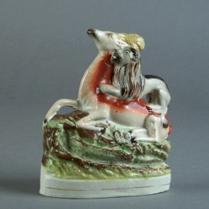 ANTIQUE STAFFORDSHIRE FIGURE OF A STAG & LION