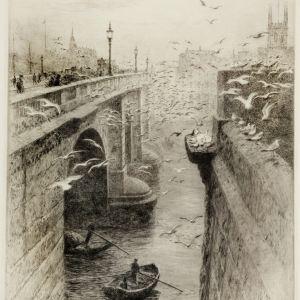 WILLIAM LIONEL WYLLIE-ETCHING-LONDON BRIDGE SOUTHWARK CATHEDRAL
