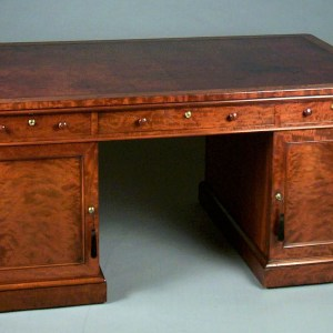 ANTIQUE LARGE MAHOGANY KNEEHOLE PARTNERS PEDESTAL DESK