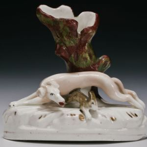 ANTIQUE STAFFORDSHIRE FIGURE OF A GREYHOUND & HARE