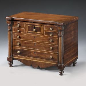 ANTIQUE SCOTTISH TEA CADDY IN FORM OF CHEST OF DRAWERS