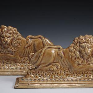 ANTIQUE STAFFORDSHIRE FIGURES OF LIONS
