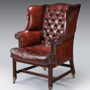 ANTIQUE GEORGIAN MAHOGANY LEATHER WING ARMCHAIR