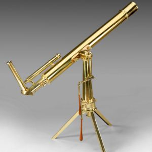 ANTIQUE PORTABLE BRASS TELESCOPE ON TRIPOD STAND