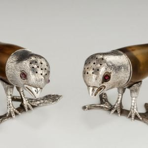 ANTIQUE PAIR OF SILVER & HORN SPARROW PEPPERS