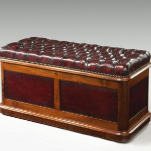 ANTIQUE WALNUT OTTOMAN WITH BUTTONED LEATHER SEAT