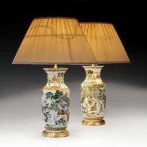 ANTIQUE PAIR OF FAMILLE VERTE VASES CONVERTED TO LAMPS
