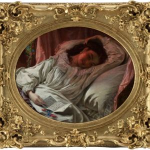 ATTR JAMES SANT-OIL PAINTING-YOUNG WOMAN ASLEEP